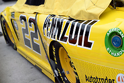 March 1, 2019 - Las Vegas, NV, U.S. - LAS VEGAS, NV - MARCH 01: The car of Joey Logano (22) Team Penske Pennzoil Ford Mustang GT sits in the garage area at the conclusion of practice for the Monster Energy NASCAR Cup Series 22nd Annual Pennzoil 400 on March 1, 2019, at the Las Vegas Motor Speedway in Las Vegas, Nevada. (Photo by Michael Allio/Icon Sportswire) (Credit Image: © Michael Allio/Icon SMI via ZUMA Press)
