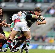 Twickenham, GREAT BRITAIN, Saracens Adam Powell, tackled by Quins Will SKINNER, during the Guinness Premiership match,  Saracens vs Harlequins, at Twickenham Stadium, Surrey on Sat 06.09.2008. [Photo, Peter Spurrier/Intersport-images]