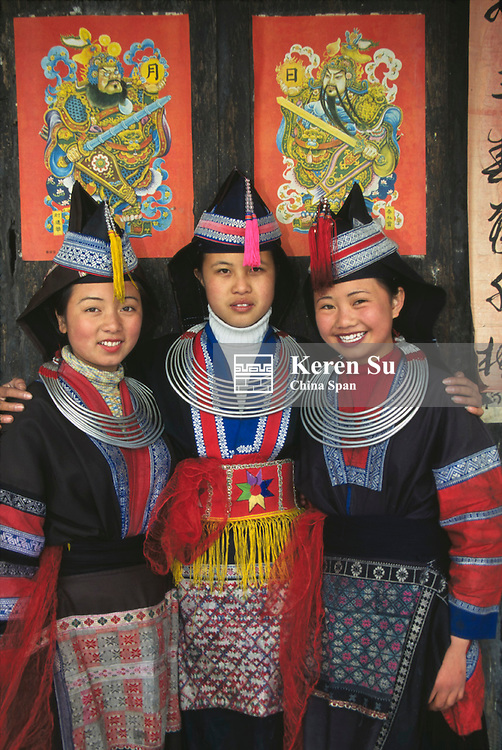 Tip-Top Miao girls in traditional costume, Guizhou Province, China