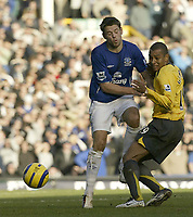 Photo: Aidan Ellis.<br /> Everton v Arsenal. The Barclays Premiership. 21/01/2006.<br /> Everton's James Beattie collides with Arsenal's Gilberto