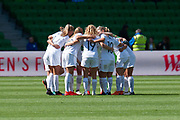 MELBOURNE, VIC - MARCH 06: New Zealand have a team huddle prior to the start of the second half during The Cup of Nations womens soccer match between New Zealand and Korea Republic on March 06, 2019 at AAMI Park, VIC. (Photo by Speed Media/Icon Sportswire)