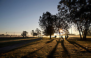 From left to right, a man called John John, Dewayne Williams and Dominique Harris enjoy the sun rise as the fog burns off at Schnur Park in Cullen Blvd. on Thursday, October 15, 2015 in Houston, TX.<br /> <br /> (For the Chronicle: Thomas B. Shea)