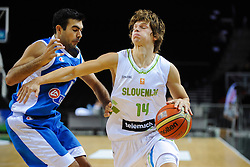 Konstantinos Sloukas of Greece vs Jaka Klobucar of Slovenia during friendly match between National Teams of Slovenia and Greece before World Championship Spain 2014 on August 17, 2014 in Kaunas, Lithuania. Photo by Robertas Dackus / Sportida.com