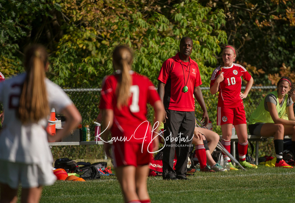 St Paul's School girls varsity soccer with Middlesex.  ©2014 Karen Bobotas Photographer