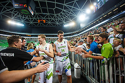 Gasper Vidmar and Miha Lapornik of Slovenia during qualifying match between Slovenia and Kosovo for European basketball championship 2017,  Arena Stozice, Ljubljana on 31th August, Slovenia. Photo by Grega Valancic / Sportida