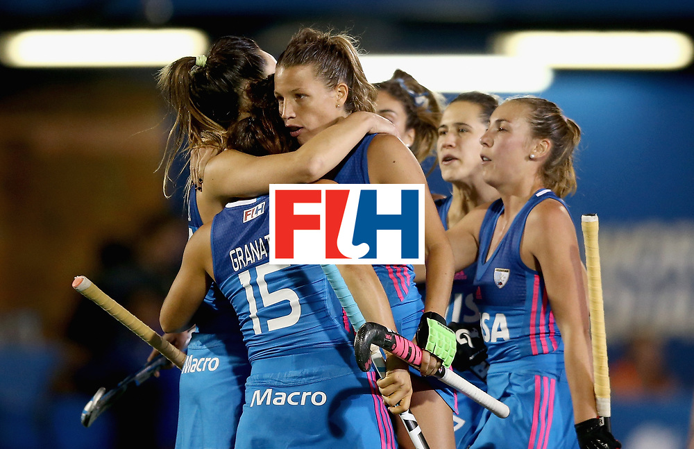 JOHANNESBURG, SOUTH AFRICA - JULY 12: Noel Barrionuevo of Argentina celebrates scoring their teams first goal with teammates during day 3 of the FIH Hockey World League Semi Finals Pool B match between South Africa and Argentina at Wits University on July 12, 2017 in Johannesburg, South Africa. (Photo by Jan Kruger/Getty Images for FIH)