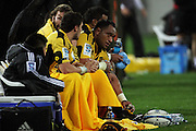 Hurricanes prop Neemia Tialata watches from the bench. Super 15 rugby match - Hurricanes v Lions at Westpac Stadium, Wellington, New Zealand on Saturday, 4 June 2011. Photo: Dave Lintott / photosport.co.nz