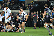 Nicky Smith of Ospreys plays scrum-half during the European Rugby Challenge Cup match between Ospreys and ASM Clermont Auvergne at The Liberty Stadium, Swansea on 15 October 2017. Photo by Andrew Lewis.