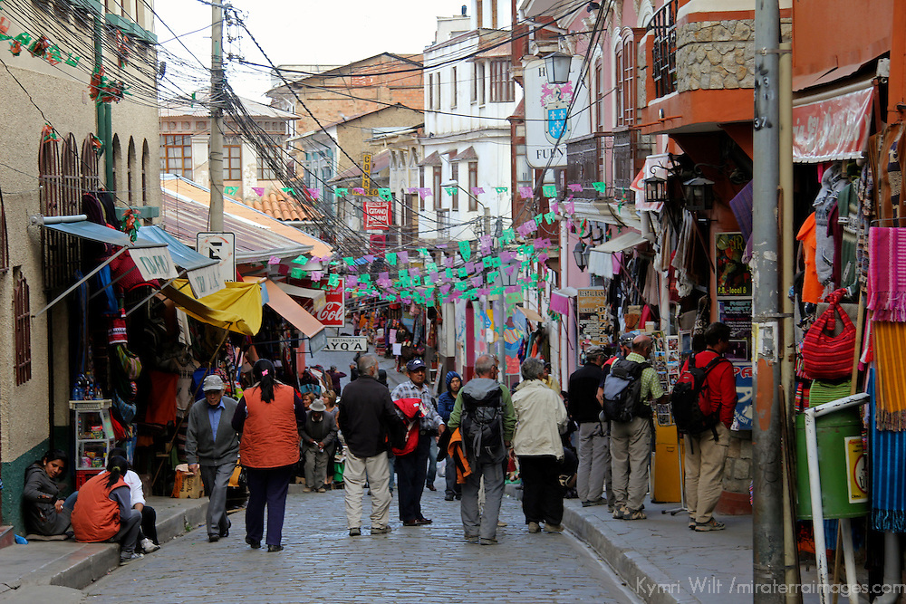 South America, Bolivia, La Paz. Tourist Market near  the Witch Doctor's Market of La Paz.