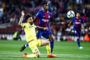 11 Ousmane Dembele from France of FC Barcelona scoring his second goal during the Spanish championship La Liga football match between FC Barcelona and Villarreal on May 9, 2018 at Camp Nou stadium in Barcelona, Spain - Photo Xavier Bonilla / Spain ProSportsImages / DPPI / ProSportsImages / DPPI