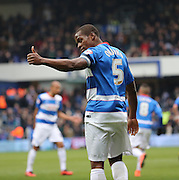 Queens Park Rangers defender and captain, Nedum Onuoha (5) giving thumbs up to the away fans during the Sky Bet Championship match between Queens Park Rangers and Birmingham City at the Loftus Road Stadium, London, England on 27 February 2016. Photo by Matthew Redman.