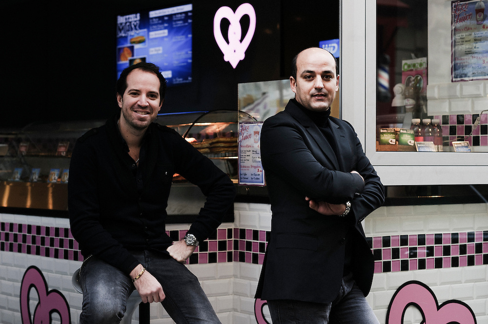 PARIS, FRANCE. JANUARY 25, 2011. Bretzel Love owners Patrick Abbou and Johan Assuied in their rue Vavin's store. (photo: Antoine Doyen)