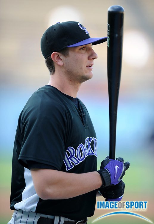 June 2, 2008; Los Angeles, CA, USA; Colorado Rockies infielder Troy Tulowitzki (2) during batting practice before game against the Los Angeles Dodgers at Dodger Stadium.