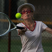 Joan Bak, Canada, in action during the 80  Womens Doubles Final  during the 2009 ITF Super-Seniors World Team and Individual Championships at Perth, Western Australia, between 2-15th November, 2009.