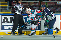 KELOWNA, CANADA - APRIL 25: Matthew Wedman #21 of the Seattle Thunderbirds back checks Konrad Belcourt #5 of the Kelowna Rockets as he skates with the puck  on April 25, 2017 at Prospera Place in Kelowna, British Columbia, Canada.  (Photo by Marissa Baecker/Shoot the Breeze)  *** Local Caption ***