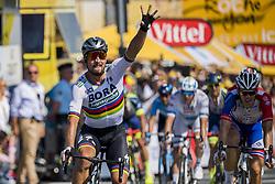 July 8, 2018 - La Roche-Sur-Yon, FRANCE - 180708 Peter Sagan of Bora–Hansgrohe celebrates after winning the stage two of Tour de France on July 8, 2018 in La Roche-sur-Yon. .Photo: Fredrik Varfjell / BILDBYRÃ…N / kod FV / 150116 (Credit Image: © Fredrik Varfjell/Bildbyran via ZUMA Press)