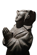 Stone statue of Guigone de Salins at prayer, c. 1445, from a private collection, in Les Hospices de Beaune, or Hotel-Dieu de Beaune, a charitable almshouse and hospital for the poor, built 1443-57 by Flemish architect Jacques Wiscrer, and founded by Nicolas Rolin, chancellor of Burgundy, and his wife Guigone de Salins, in Beaune, Cote d'Or, Burgundy, France. The hospital was run by the nuns of the order of Les Soeurs Hospitalieres de Beaune, and remained a hospital until the 1970s. The building now houses the Musee de l'Histoire de la Medecine, or Museum of the History of Medicine, and is listed as a historic monument. Picture by Manuel Cohen