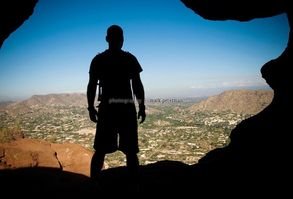 Hiking Camelback Mountain in Phoenix, Arizona Hiking Camelback Mountain in Scottsdale, Arizona.