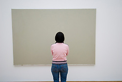 Visitor looking at modern art paintings at Hamburger Bahnhof modern art gallery in Berlin
