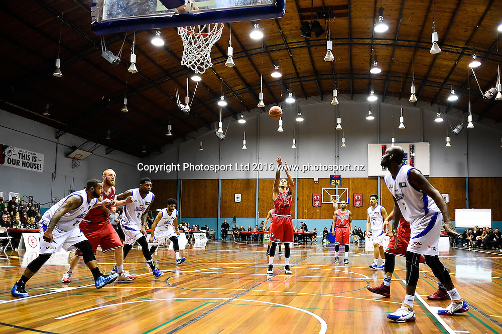 McKenzie Moore of the Rams shoots a free throw during the NBL Basketball Match, Canterbury Rams V Wellington Saints, Cowles Stadium, Christchurch, New Zealand. 21st May 2016. Copyright Photo: John Davidson / www.photosport.nz