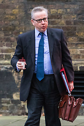 London, December 05 2017. Secretary of State for Environment, Food and Rural Affairs Michael Gove arrives at 10 Downing Street to attend the weekly cabinet meeting. © Paul Davey