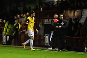 Northampton  defender Brendan Moloney heads for an early bath after being sent off by referee Stephen Martin during the Sky Bet League 2 match between Crawley Town and Northampton Town at the Checkatrade.com Stadium, Crawley, England on 24 November 2015. Photo by David Charbit.