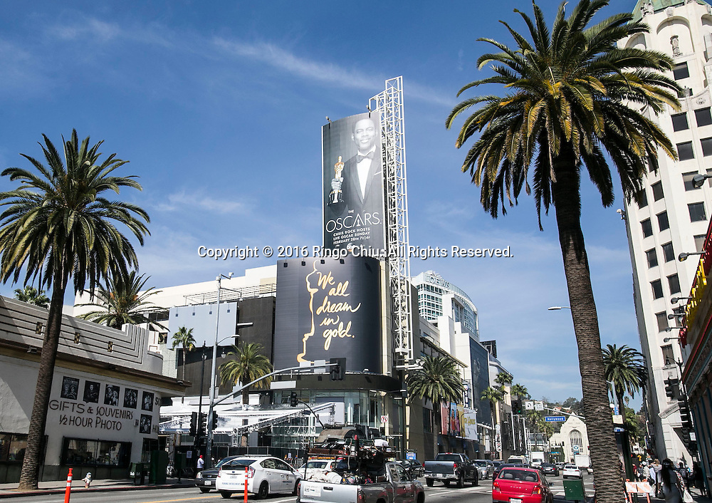 The Oscar posters are seen on the outside the Hollywood &amp; Highland Center in preparation for the 88th Academy Awards in Los Angeles, Monday, February 22, 2016. The Academy Awards will be held Sunday, February 28, 2016. (Photo by Ringo Chiu/PHOTOFORMULA.com)<br /> <br /> Usage Notes: This content is intended for editorial use only. For other uses, additional clearances may be required.