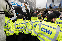 © Licensed to London News Pictures. 25/02/2017. Telford, UK. Opposition groups against a Britain First demonstration in Telford . Britain First say they are highlighting concerns about child sexual exploitation in the town . Photo credit: Joel Goodman/LNP