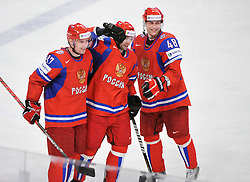 11.05.2012, Ericsson Globe, Stockholm, SWE, IIHF, Eishockey WM, Russland (RUS) vs Schweden (SWE), im Bild, Russia 1 Goalkeeper Semyon Varlamov (Colorado Avalanche) goal // during the IIHF Icehockey World Championship Game between Russia (RUS) and Sweden (SWE) at the Ericsson Globe, Stockholm, Sweden on 2012/05/11. EXPA Pictures © 2012, PhotoCredit: EXPA/ PicAgency Skycam/ Simone Syversson..***** ATTENTION - OUT OF SWE *****