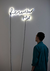 © Licensed to London News Pictures. 11/06/2019. London, UK. Oscar-winning filmmaker and visual artist Steve McQueen's neon 'Remember Me (14) 2016' on show at the 'Get Up, Stand Up Now: Generations of Black Creative Pioneers' exhibition at Somerset House, London. This major new exhibition celebrates the past 50 years of Black creativity in Britain and beyond. Beginning with the radical Black filmmaker Horace Ové and his dynamic circle of Windrush generation creative peers and extending to today's brilliant young Black talent globally, a group of around 100 interdisciplinary artists are showcasing their work together for the first time, exploring Black experience and influence, from the post-war era to the present day. The exhibition opens on June 12, 2019 and runs until September 15, 2019.  Photo credit: Peter Macdiarmid/LNP