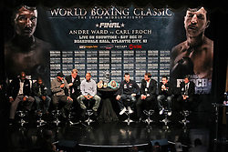 Dec 13; New York, NY, USA; Atmosphere shot of the final press conference for the fight between Andre Ward and Carl Froch.  The two will meet at Boardwalk Hall in Atlantic City, NJ on Saturday, December 17, 2011.