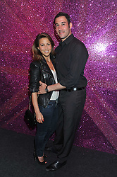 RACHEL STEVENS and her husband ALEX BOURNE at a party hosted by Rimmel London to celebrate the 10 year partnership with Kate Moss held at Battersea Power Station, London SW8 on 15th September 2011.