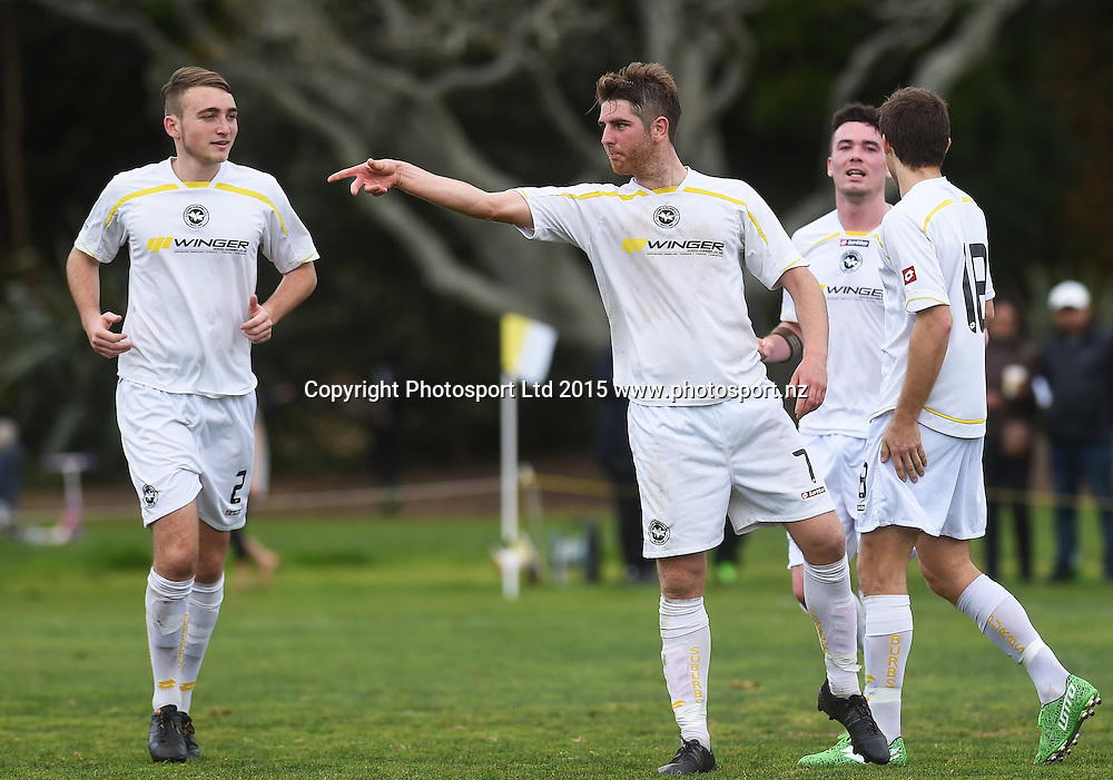 Eastern Suburbs' Michael Bryant celebrates his goal. Chatham Cup Semi Final Football. Eastern Suburbs AFC v Mangere Utd. Saturday 29 August 2015. Copyright photo: Andrew Cornaga/www.photosport.nz