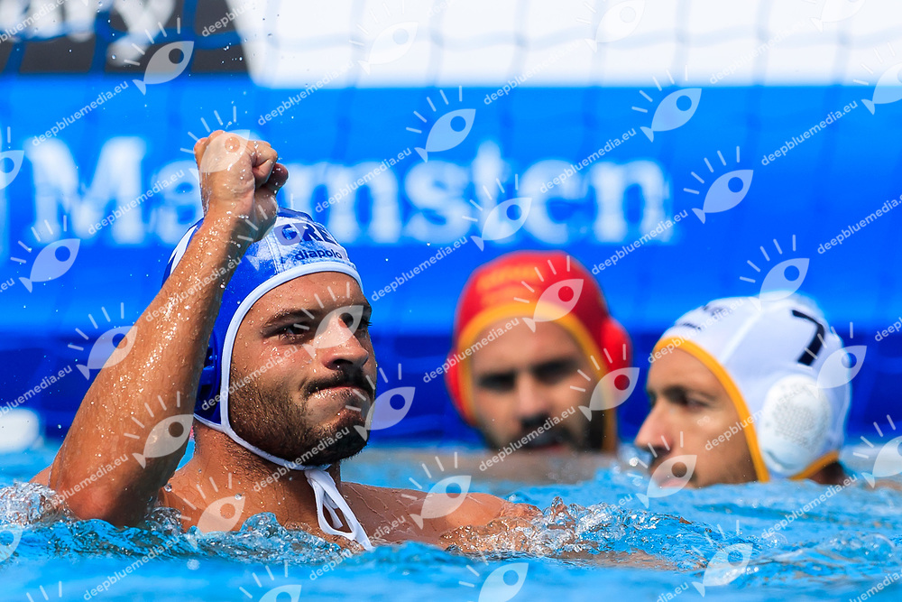 Christodoulos Kolomvos of Greece<br /> Montenegro (white cap) -  Greece (blue cap)<br /> Quarterfinal  Round Water Polo Man<br /> Day12  25/07/2017 <br /> XVII FINA World Championships Aquatics<br /> Alfred Hajos Complex Margaret Island  <br /> Budapest Hungary <br /> Photo @Deepbluemedia/Insidefoto Photo @Marcelterbals/Deepbluemedia/Insidefoto