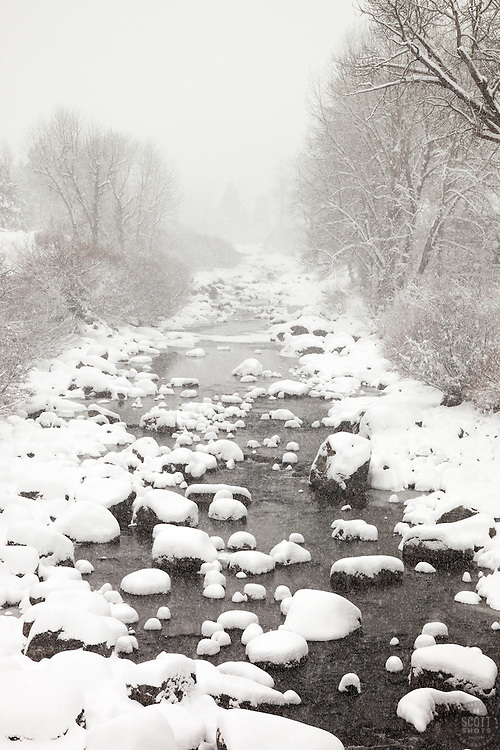 """Snowy Truckee River 6"" - Photograph of a snowy Truckee River in Downtown Truckee, California."
