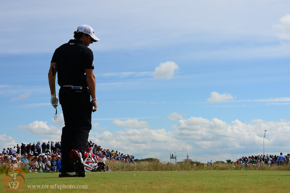 July 21, 2012; St. Annes, ENGLAND; Rory McIlroy (left) reacts after teeing off on the 5th hole during the third round of the 2012 British Open Championship at Royal Lytham & St. Annes Golf Club.