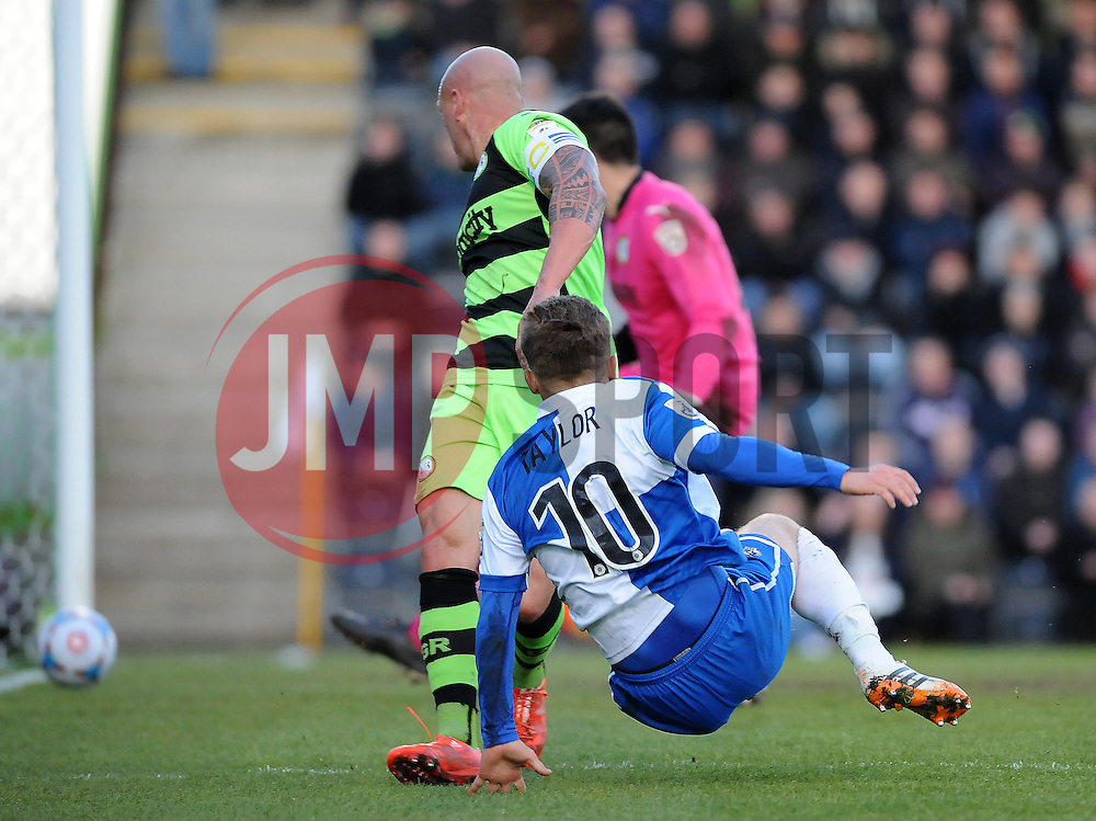 Bristol Rovers' Matty Taylor scores the ony goal of the game - Photo mandatory by-line: Neil Brookman/JMP - Mobile: 07966 386802 - 29/04/2015 - SPORT - Football - Nailsworth - The New Lawn - Forest Green Rovers v Bristol Rovers - Vanarama Football Conference