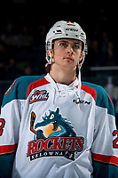 KELOWNA, CANADA - MARCH 13:  Leif Mattson #28 of the Kelowna Rockets lines up against the Spokane Chiefs on March 13, 2019 at Prospera Place in Kelowna, British Columbia, Canada.  (Photo by Marissa Baecker/Shoot the Breeze)