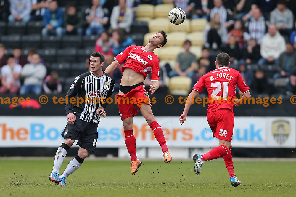 Crawley&rsquo;s Mat Sadler caught with his pants down during the Sky Bet division One match between Notts County and Crawley Town at the Meadow Lane in Nottingham. April 21, 2014. <br /> James Boardman /TELEPHOTO IMAGES