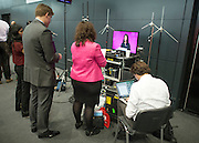 © Licensed to London News Pictures. 23/09/2014. Manchester, UK. Journalists watch the speech by Caroline Flint. Labour Party Conference 2014 at the Manchester Convention Centre today 23 September 2014. Photo credit : Stephen Simpson/LNP