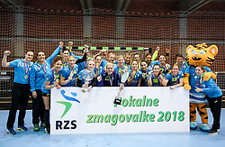 Players of RK Krim Mercator with teamphoto for first place after handball match between RK Zagorje and RK Krim Mercator in Final game of Slovenian Women Handball Cup 2017/18, on April 1, 2018 in Park Kodeljevo, Ljubljana, Slovenia. Photo by Matic Klansek Velej / Sportida