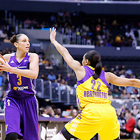 18 May 2014: Phoenix Mercury guard Diana Taurasi (3) looks to pass the ball over Los Angeles Sparks guard/forward Armintie Herrington (22) during the Phoenix Mercury 74-69 victory over the Los Angeles Sparks, at the Staples Center, Los Angeles, California, USA.