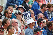 Fans celebrate another four runs for  during 2nd day of the Investec Ashes Test match between England and Australia at Trent Bridge, Nottingham, United Kingdom on 7 August 2015. Photo by Shane Healey.