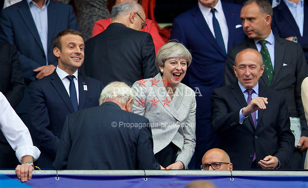 PARIS, FRANCE - Tuesday, June 13, 2017: Leader of the Conservative Party and minority British Prime Minister Theresa May with French president Emmanuel Macron before an international friendly match at the Stade de France. (Pic by David Rawcliffe/Propaganda)