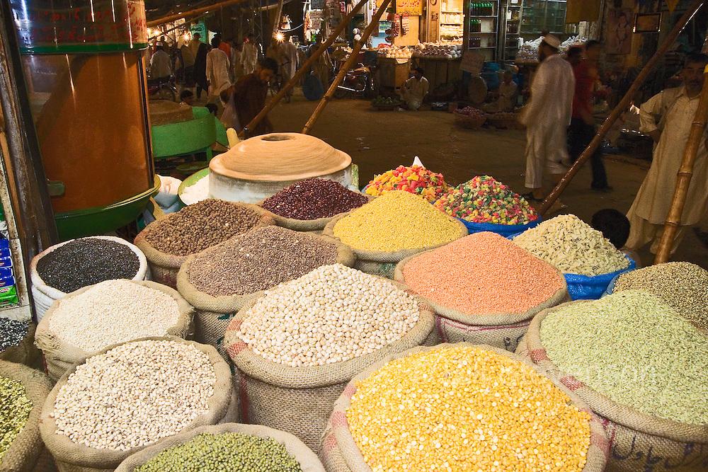 Sacks of grain in the old bazaar in Rawalpindi in Pakistan