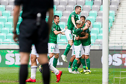 Players of NK Olimpija Ljubljana celebrate goal during football match between NK Olimpija Ljubljana and NK Krsko in Round #35 of Prva liga Telekom Slovenije 2017/18, on May 23, 2018 in SRC Stozice, Ljubljana, Slovenia. Photo by Urban Urbanc / Sportida