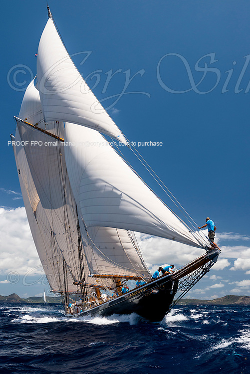 Columbia sailing in the Antigua Classic Yacht Regatta, Old Road Race.