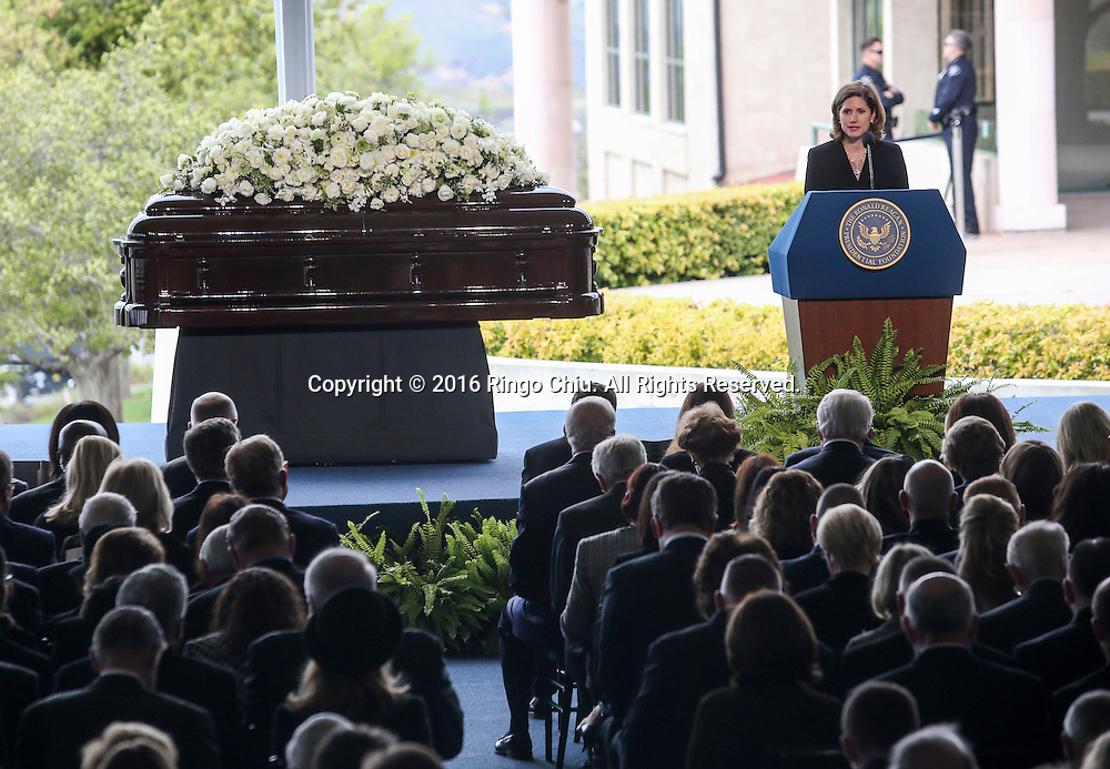 Anne Peterson speaks during a funeral service for the former first lady Nancy Reagan at the Ronald Reagan Presidential Library and Museum in Simi Valley, California on March 11, 2016. Reagan died of congestive heart failure in her sleep at her Bel Air home Sunday at age 94. A bout 1,000 guests from the world of politics attended the final farewell to Nancy Reagan as the former first lady is eulogized and laid to rest next to her husband at his presidential library.<br />    (Photo by Ringo Chiu/PHOTOFORMULA.com)<br /> <br /> Usage Notes: This content is intended for editorial use only. For other uses, additional clearances may be required.