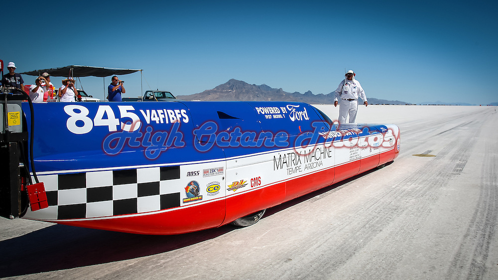 Joel Young's 4 cylinder flathead powered Model T Streamliner on the Bonneville salt.