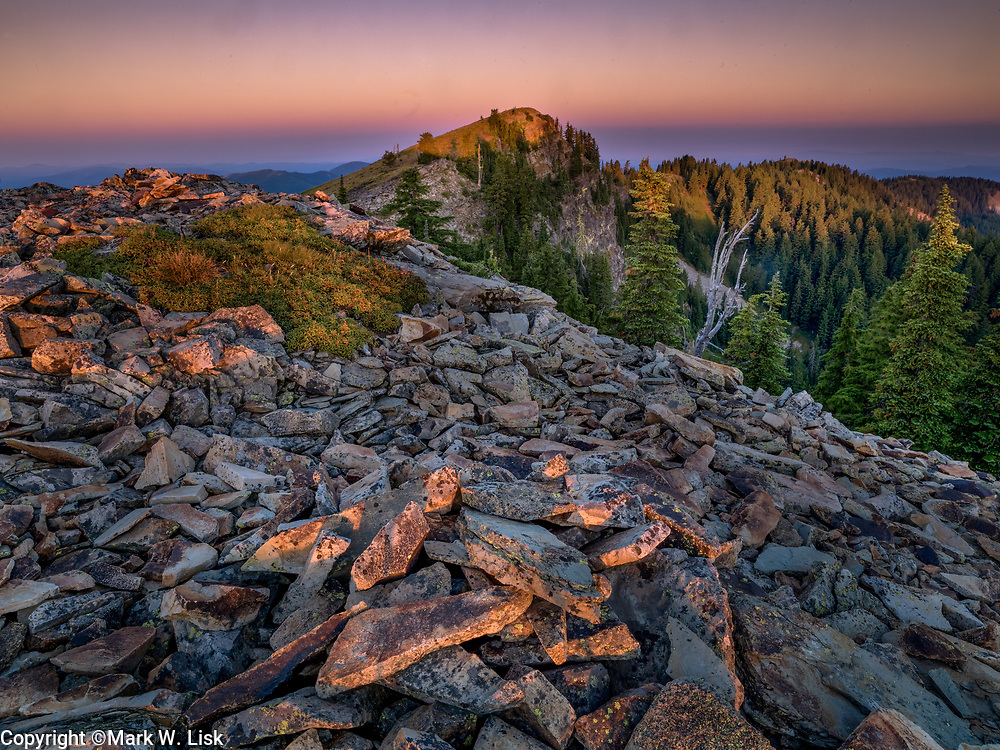 The early sun warms the rocky outcroppings in the Twin Craggs area of the St. Joe National Forest.